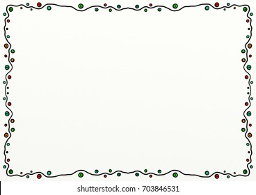 A hand drawn doodle style page border decoration with copy space.
