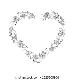 Hand drawn doodle style succulent and orchid flowers  heart shaped wreath. floral design element. isolated on white background. stock illustration