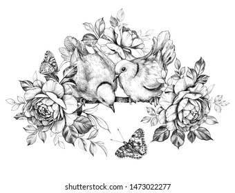 Hand drawn doves couple with roses isolated on white background. Pencil drawing monochrome elegant floral composition with two birds and butterflies in vintage style.