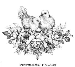 Hand drawn doves couple sitting on branches with roses isolated on white background. Pencil drawing monochrome elegant floral composition with two pigeons in vintage style, t-shirt, tattoo design.