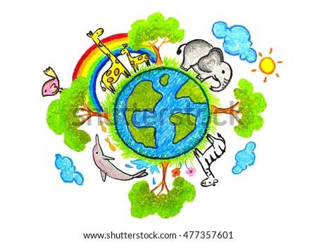 hand drawn ecosystem world love earthのイラスト素材 477357601