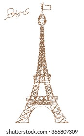 Hand drawn Effel Tower in Paris. Most popular travel places.