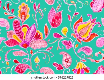 Hand drawn elegance watercolor floral flower seamless pattern (tiling). Colorful seamless pattern with pink abstract whimsical tulips, paisley, butas, orchid, lotus, lily and leaves on mint background