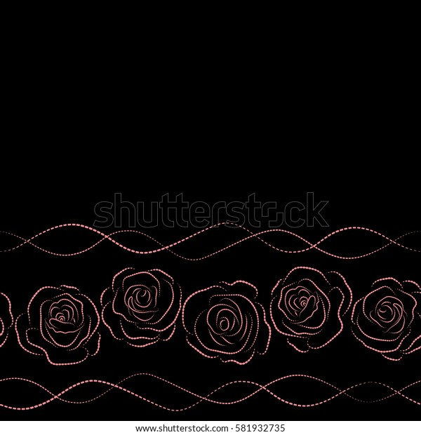 Hand drawn elements. Horizontal roses silhouette in pink and black colors. Seamless background pattern with copy space (place for your text).