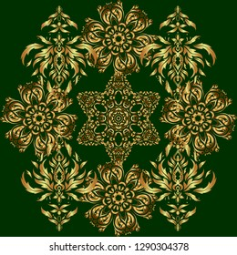 Hand drawn ethnic texture, flight of imagination. Seamless abstract multicolored tribal pattern on green background.