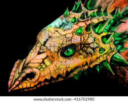 Royalty Free Stock Illustration Of Hand Drawn Face Dragon Glowing