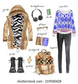 Hand drawn fashion illustration clothing set. Stylish and trendy outfit.