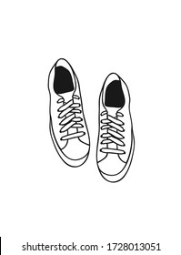 Hand Drawn Fashion Illustration Season Sneakers. Creative ink art work Summer Outfit Element. Actual  drawing shoes. Black contour object on white background isolated