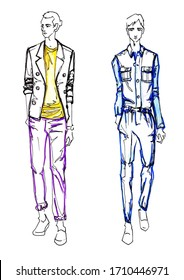 Hand drawn fashion sketching of two men's  in casual clothing posing. Fashion illustration of men's clothing. Color sketch of a mens   in colored clothes