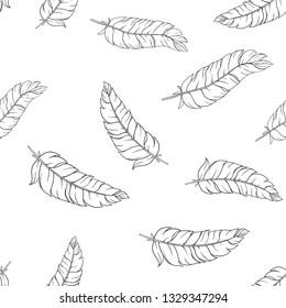 Hand drawn feathers. Monochrome seamless pattern.