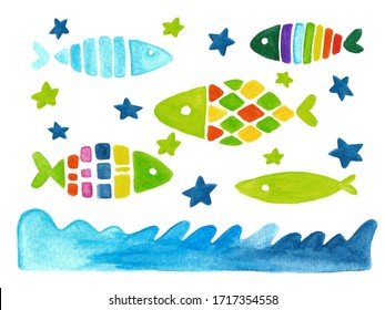 Hand drawn fish set isolated on white. Sketch illustration. Cut out clip art elements for print and creative design.