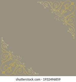 Hand drawn floral art ornate with leaves and flowers for frame colored in gold illustration