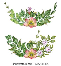 Hand drawn floral bouquets in colorful colors with abstract flowers and foliage