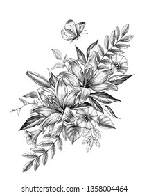 Hand drawn floral bunch with Lily, Bindweed flowers and flying butterfly isolated on white background. Pencil drawing monochrome elegant flower composition in vintage style, t-shirt, tattoo design