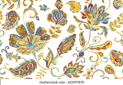 Hand drawn floral flower seamless pattern (tiling). Trendy colorful watercolor seamless pattern with flowers, paisley, butas, tulips and leaves. Isolated objects on a white background. Stucco design.