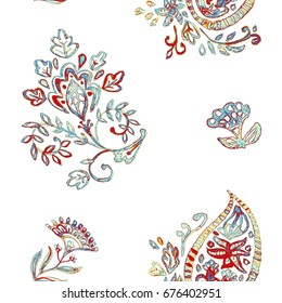 Hand drawn floral flower seamless tile pattern. Colorful painted print with whimsical grunge antique flower, paisley, lotus. Watercolor seamless pattern for textile. Isolated objects, white background