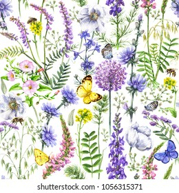 Hand drawn floral seamless pattern made with watercolor pink, violet and lilac wildflowers, bees and butterflies. Summer flowers, flying and sitting insects on white background.