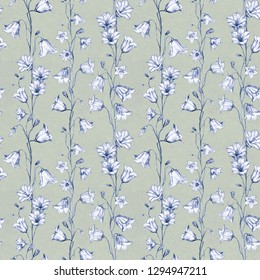 Hand drawn floral seamless pattern background with graphic bluebell flowers on green background
