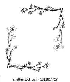 Hand drawn floral text frame, useful for greeting or invitation cards.
