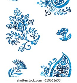 Hand drawn flower seamless pattern (tile). Colorful seamless pattern with blue whimsical flowers, paisley, buta, lotus. Watercolor seamless pattern for textile. Isolated objects on white background.