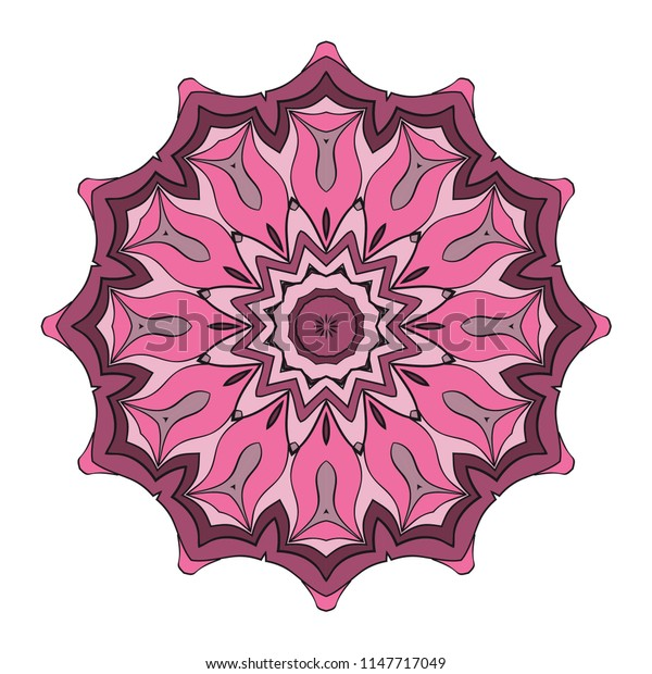 hand drawn flower symbol illustration. Color mandala design. For fashion, web, surface design