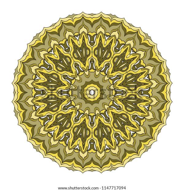 hand drawn flower symbol illustration. Color mandala design. For fashion, web, surface design