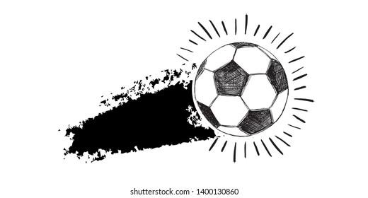 Hand drawn football, soccer ball sketch