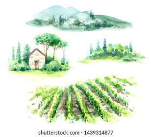 Hand drawn fragments of rural scene with vineyard, hill, trees and bushes watercolor sketch. Fragments of summer landscape.
