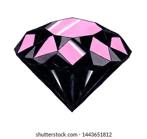 Hand drawn gemstone diamond black and pink, glitter and richness. Isolated single jewelry object