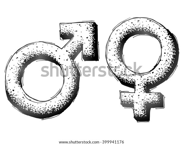 Hand drawn gender symbols with dot shading. Sketch of man and woman signs in doodle style. Illustration about man, woman, sex differences, relationship, gender role, sexual orientation, etc