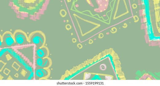 Hand Drawn Geometrical Pattern. Grunge Silver Graphic Wall. Background Hand Drawn Geometrical Pattern. Boho Military Green Pattern. Ethnic Sketch Card.