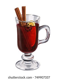 Hand drawn glass with mulled wine isolated on white background. Homemade christmas drink illustration