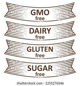 Hand drawn gluten free, sugar free, dairy free, gmo free banners design