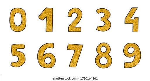 Hand drawn golden numbers isolated on white background