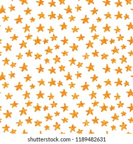 Hand Drawn golden stars. Seamless pattern with gold stars. Gift wrap, print, cloth, christmas holiday, cute background for a card. Star on white background. Yellow gold glitter sparkling shiny.