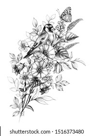 Hand drawn goldfinch and butterfly sitting on wildflowers bouquet isolated on white. Pencil drawing elegance floral composition with bird and flowers in vintage style, t-shirt, tattoo design.