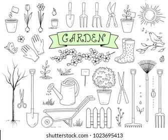 hand drawn graphic garden tools set on white