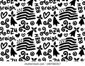 Hand drawn grunge style doodle seamless pattern with breton hand-drawn symbols: Gwen-ha-du black and white flag of Brittany, doodle triskels, line-art hermines, Bretagne, Breizh and BZH.