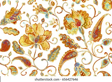Hand drawn grunge watercolor floral flower seamless pattern tile for textile design. Colorful seamless pattern with abstract whimsical paisley, tulips, leaves. Isolated objects on a white background.