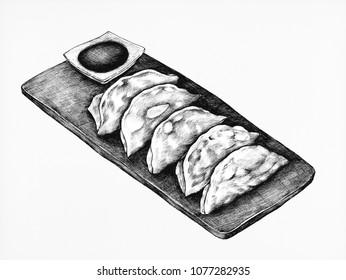 Hand drawn Gyoza Japanese crescent-shaped dumpling