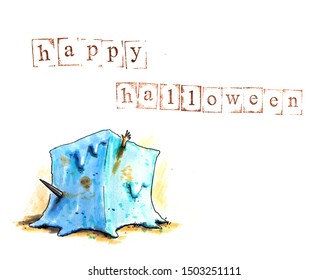 Hand drawn halloween background with dnd gelatinous cube