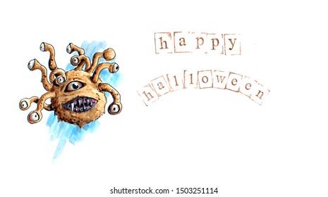 Hand drawn halloween background with dnd beholder