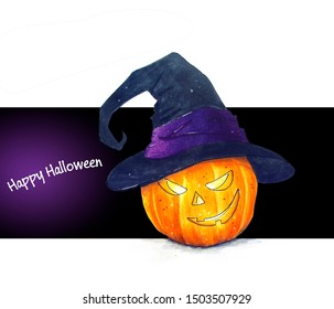 Hand drawn Halloween pumpkin with hat sketch illustration