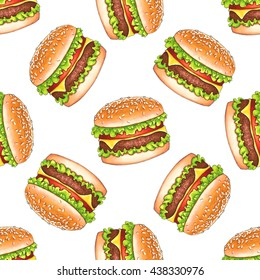 Hand drawn hamburger repeating pattern, food seamless background, illustration on white backdrop. Fast food design.