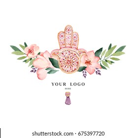 Hand Drawn Hamsa with watercolor flowers. Ethnic style. Pre made logo