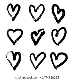 Hand drawn heart collection. Freehand hearts isolated on white background. illustration