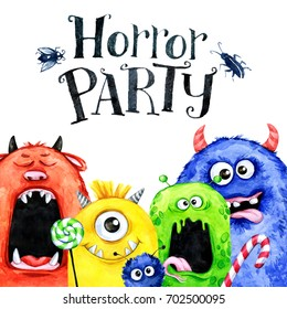 Hand drawn horizontal frame with watercolor funny monster heads. Celebration illustration. Cartoon horror party. Funny beasts. Baby background. Can be use in holidays, birthday design, posters, cards.