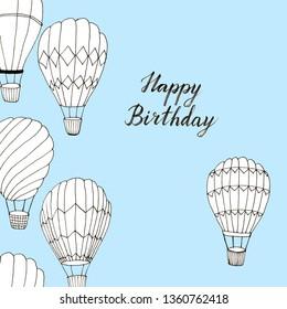 Hand drawn hot air balloons birthday card