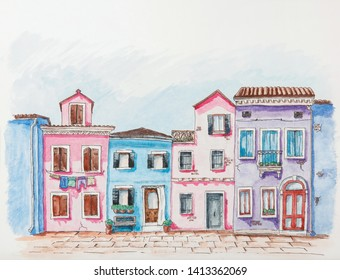 Hand drawn houses of old European street. Pen line art architecture illustration. Watercolor illustration. Fasades of old houses. Provincial town sketch. Travel sketching. Architectural coloring book