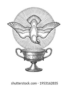 Hand drawn illlustration in the engraving style, symbolical dove of the Holy Spirit and Holy Grail.